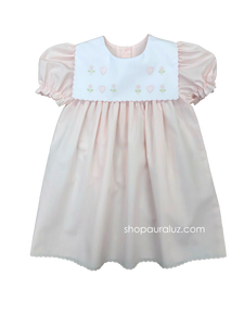 Auraluz Dress..Pink with scallop trim,square collar and embroidered hearts
