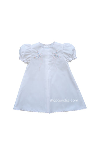 Auraluz Baby Dress...White with pink scallop trim and embroidered bows