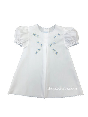 Auraluz Baby Dress...White with blue scallop trim and embroidered tiny buds