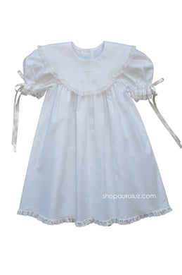 Auraluz Dress...White with ecru lace,scalloped round collar and embroidered cross