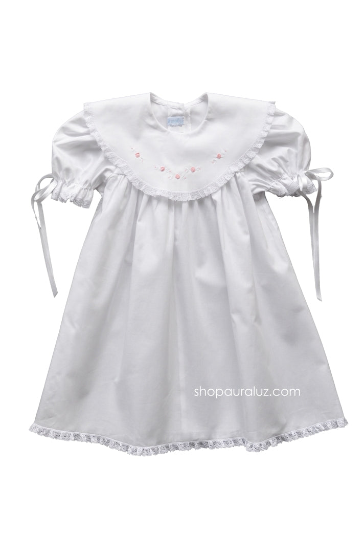 Auraluz Dress..White with lace,scalloped round collar and embroidered flowers