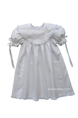 Auraluz Dress...White with white lace,scalloped round collar and embroidered flowers