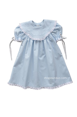 Auraluz Dress..Blue with white lace,scalloped round collar and embroidery