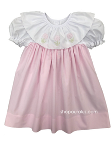 Auraluz Dress...Pink check with round scallop trim collar and embroidered flowers
