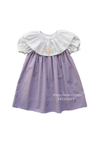 Auraluz Mardi Gras Dress..Purple check with round scallop trim collar and embroidered masks. STORE EXCLUSIVE!