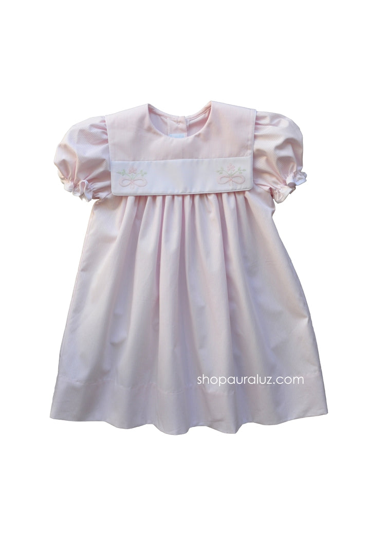 Auraluz Dress..Pink stripe with sq.collar and embroidered bows