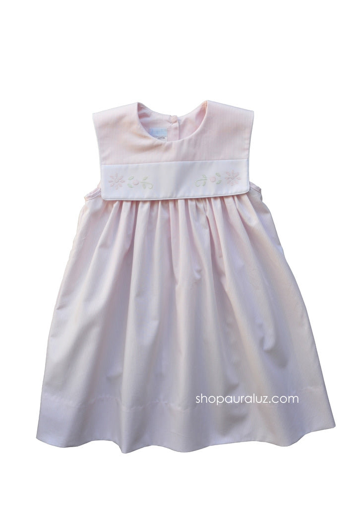 Auraluz Sleeveless Dress..Pink stripe with sq.collar and embroidered flowers