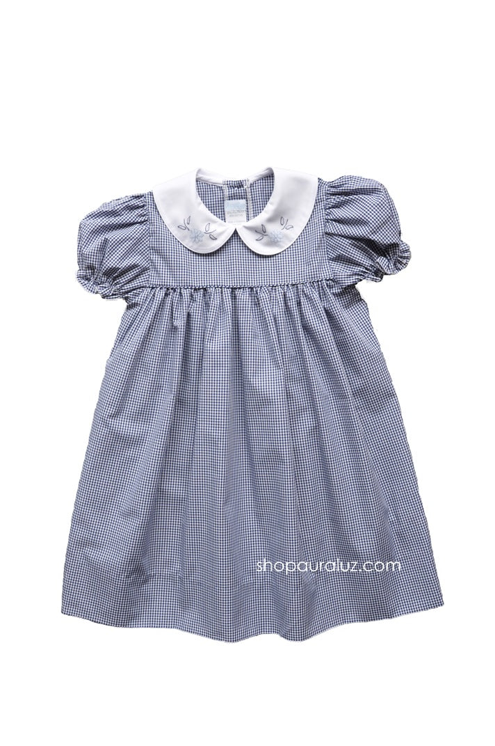 Auraluz Dress..Navy check with white p.p.collar and embroidered flowers