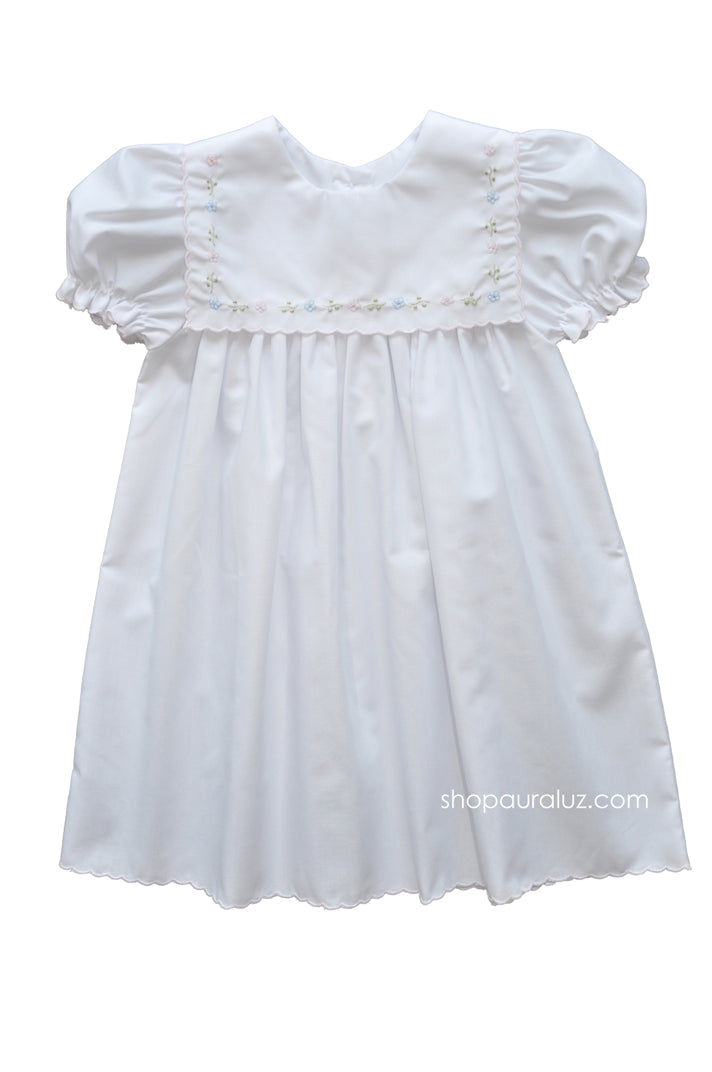 Auraluz Dress...White with square collar,pink scallop trim and embroidered flowers