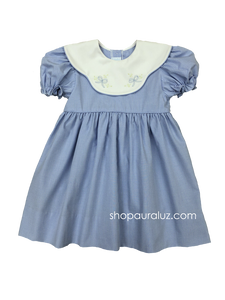 Auraluz Dress..Blue micro check w/binding, scalloped collar and embroidered bows