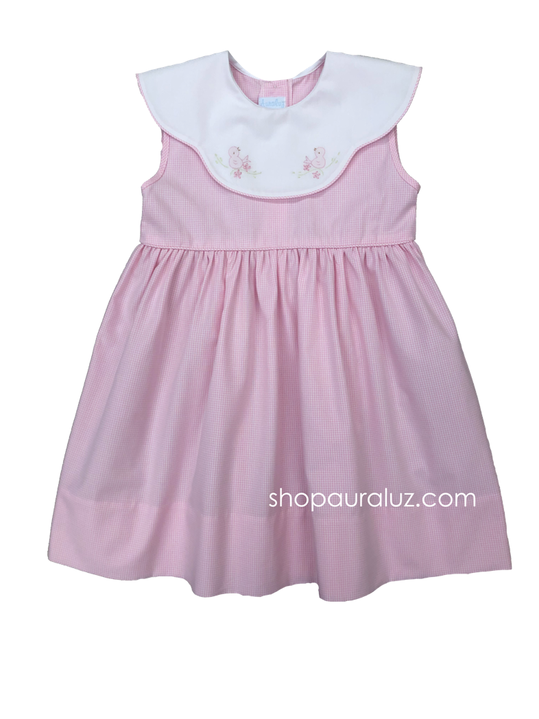 Auraluz Sleeveless Dress..Pink micro check w/binding, scalloped collar and embroidered birds