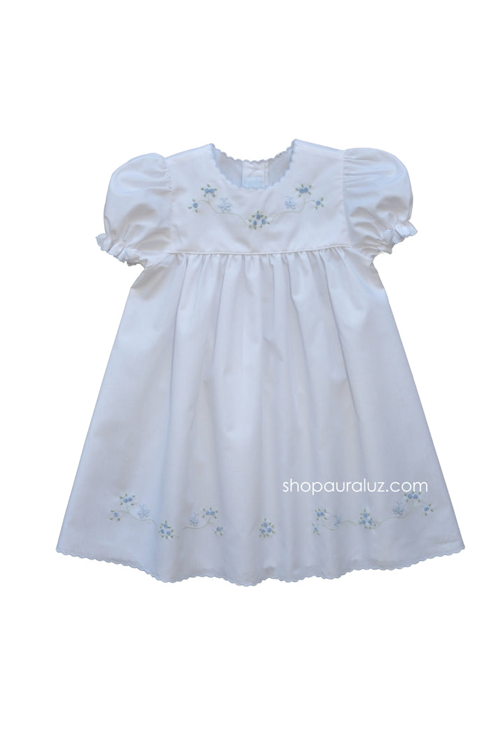 Auraluz Dress. White with blue scallop trim and embroidered butterflies