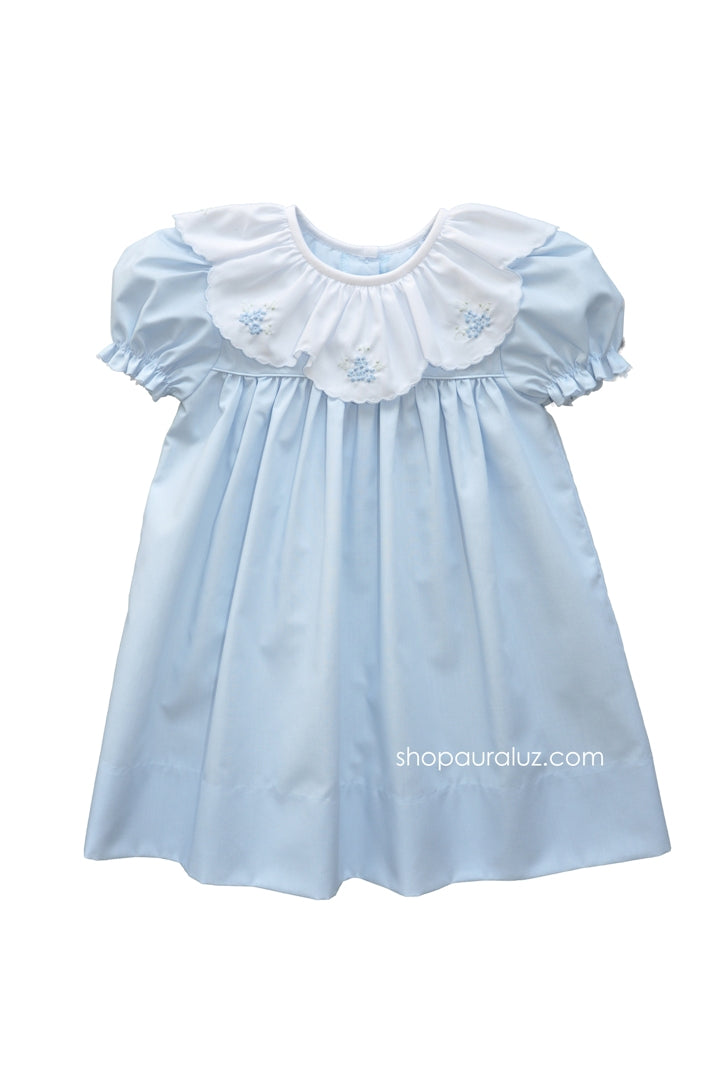 Auraluz Dress...Blue with ruffle collar and embroidered flowers