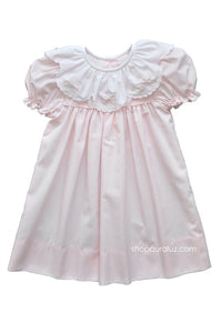 Auraluz Dress...Pink with ruffle collar and embroidered bows
