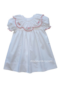 Auraluz Christmas Dress..White with ruffle collar and embroidered bows