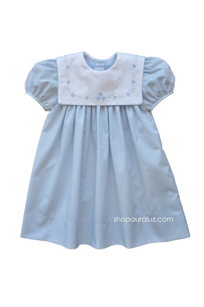 Auraluz Dress..Blue with square collar and embroidered flowers
