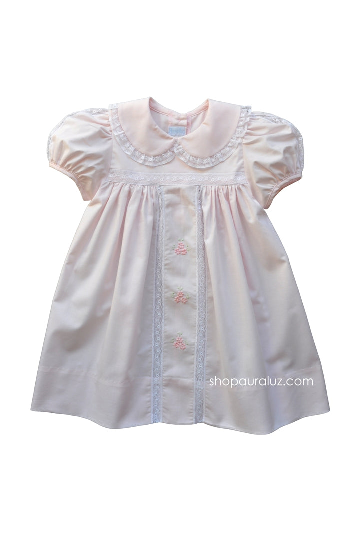 Auraluz Dress..Pink with white lace/inset, p,p,collar and embroidered flowers