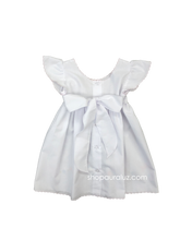 Load image into Gallery viewer, Auraluz Pinafore...White with embroidered tiny bows