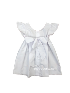 Auraluz Pinafore...White with embroidered tiny bows