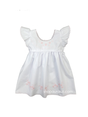 Auraluz Pinafore...White with embroidered flowers