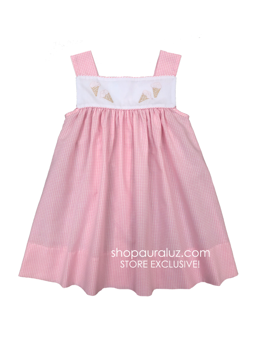 Auraluz Sun Dress..Pink check with embroidered ice cream cones. STORE EXCLUSIVE!