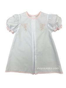 Auraluz Baby Dress. White with pink binding trim and embroidered bows