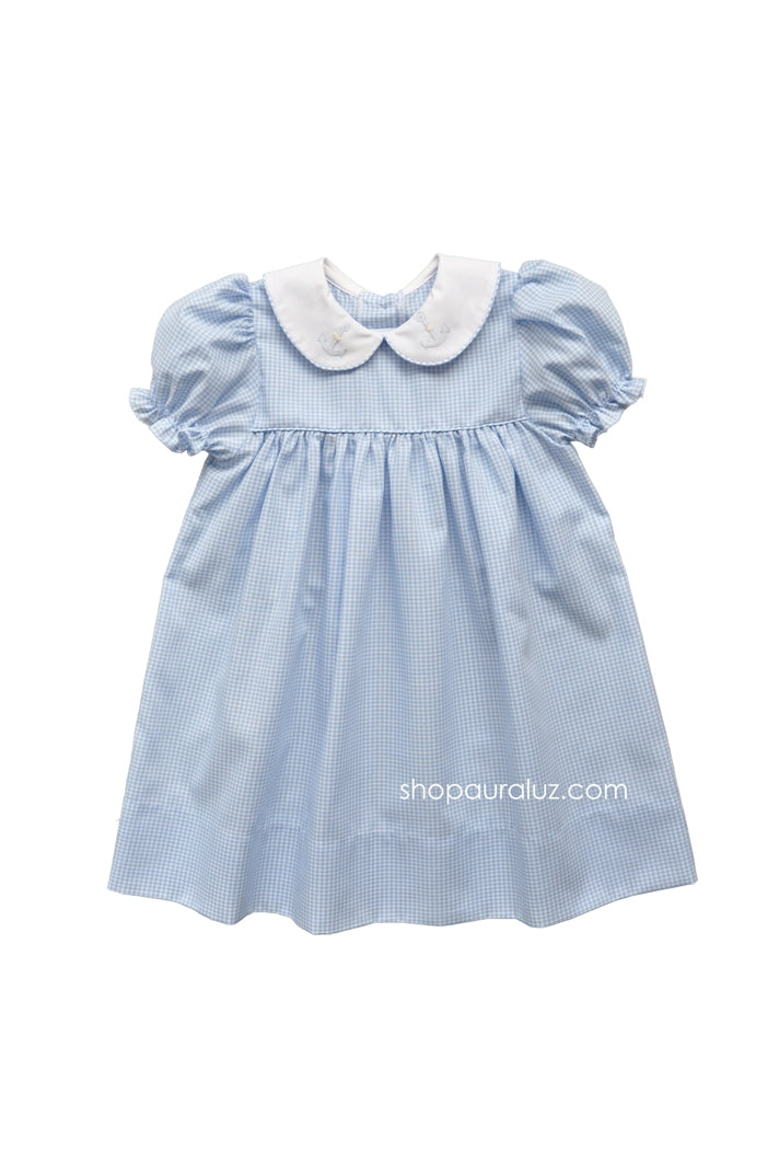 Auraluz Dress..Blue check with p.p.collar and embroidered anchors
