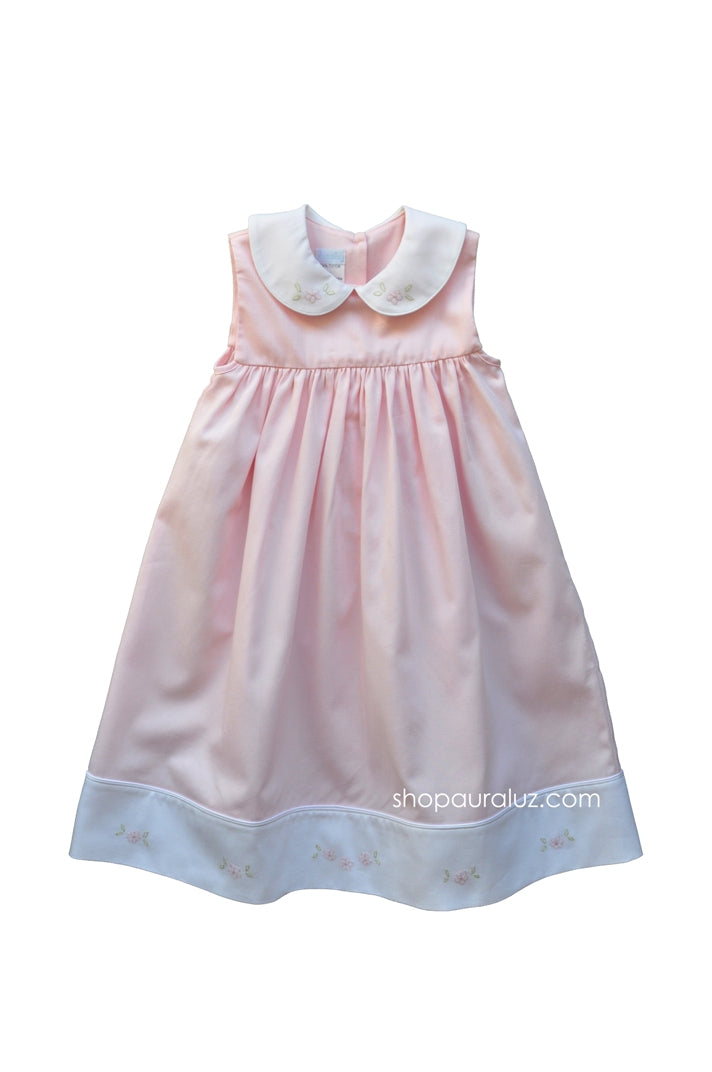 Auraluz Pique Sleeveless Dress..Pink with white p.p.collar and embroidered flowers