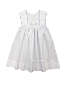 Auraluz Sun Dress..White with blue scallop trim and embroidered birds