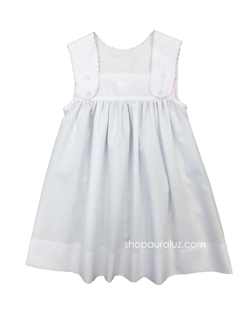 Auraluz Sun Dress..White with pink scallop trim, blank (no embroidery)
