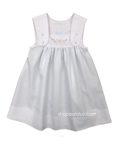 Auraluz Sun Dress..White with pink scallop trim and embroidered bow