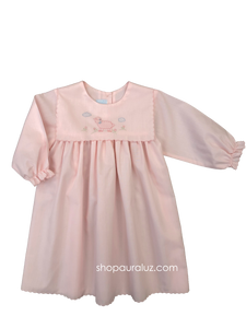 Auraluz Dress, l/s...Pink with square collar,scallop trim and embroidered lamb