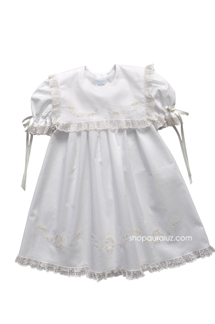 Auraluz Dress..White with ecru lace/ribbon, sq.collar and embroidered flowers