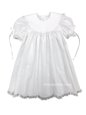 Auraluz Dress..White with white lace/ribbon, round collar and embroidered flowers