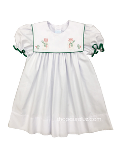 Auraluz Christmas Dress...White with green binding trim and embroidered snowmen