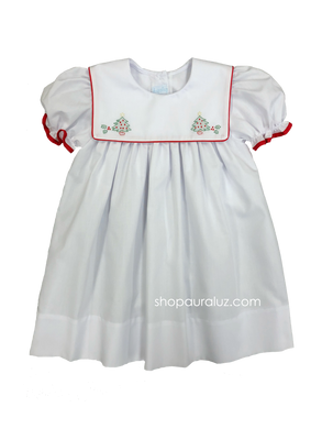 Auraluz Christmas Dress...White with red binding trim and embroidered trees
