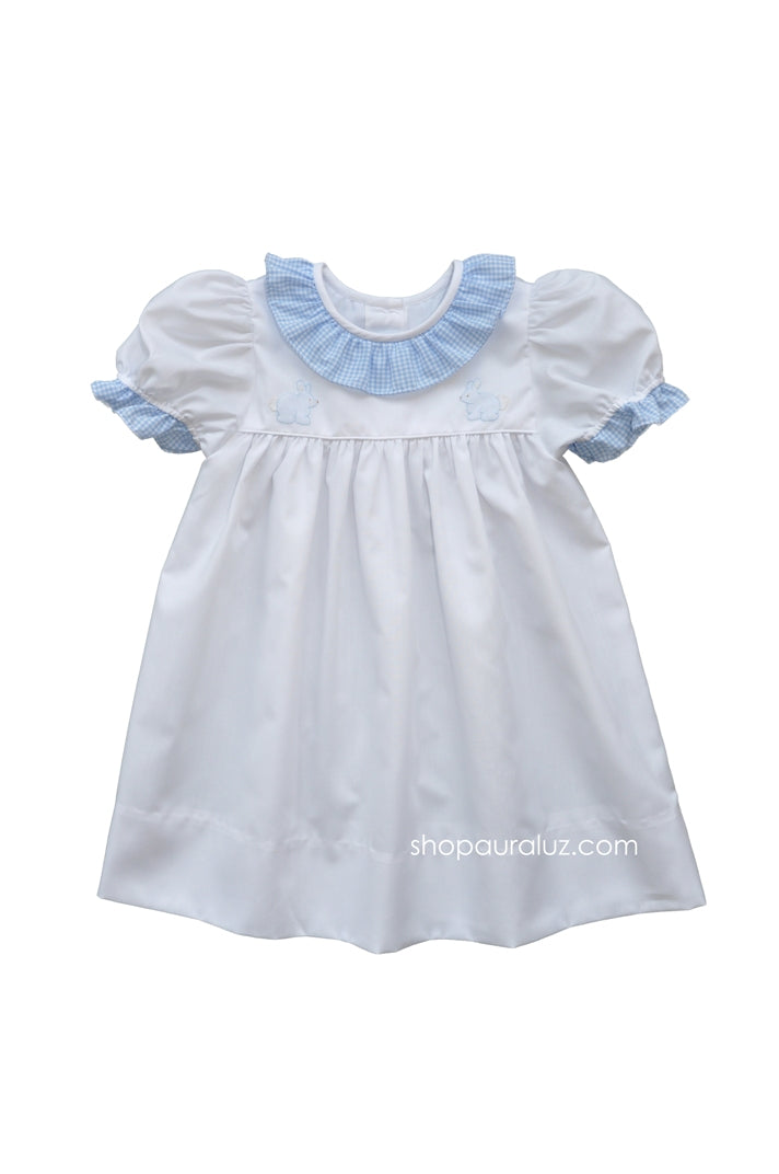 Auraluz Dress..White w/blue check sm.ruffle collar and embroidered bunnies