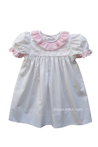 Auraluz Dress..White w/pink check sm.ruffle collar and embroidered ribbons