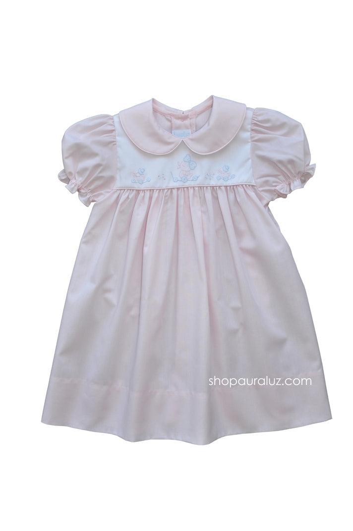 Auraluz Dress..Pink with p.p.collar and embroidered ducks