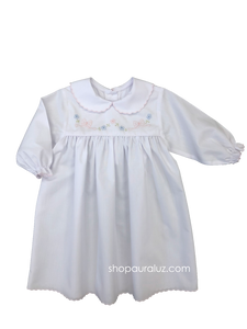 Auraluz Dress, l/s...White with p.p. collar, pink scallop trim and embroidered bow