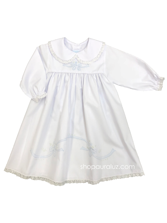 Auraluz Dress l/s. White with white lace, p.p.collar and blue/green embroidered ribbons