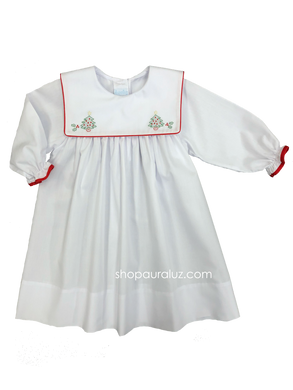 Auraluz Christmas Dress l/s...White with red binding trim and embroidered trees