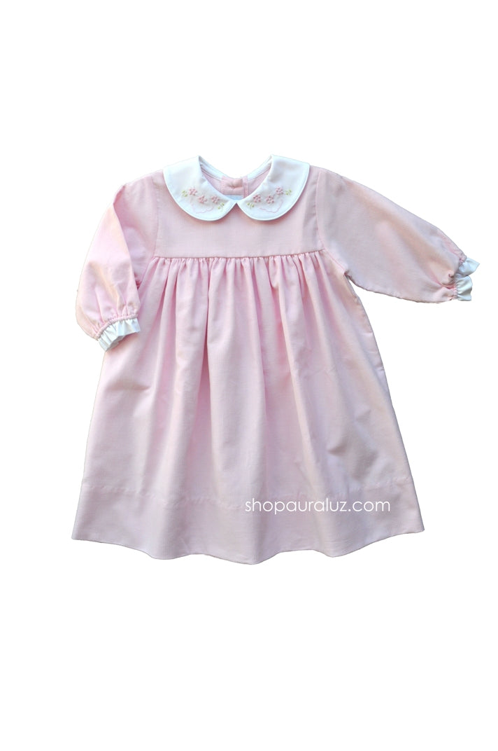Auraluz Corduroy Dress...Pink with p.p. collar and embroidered flowers