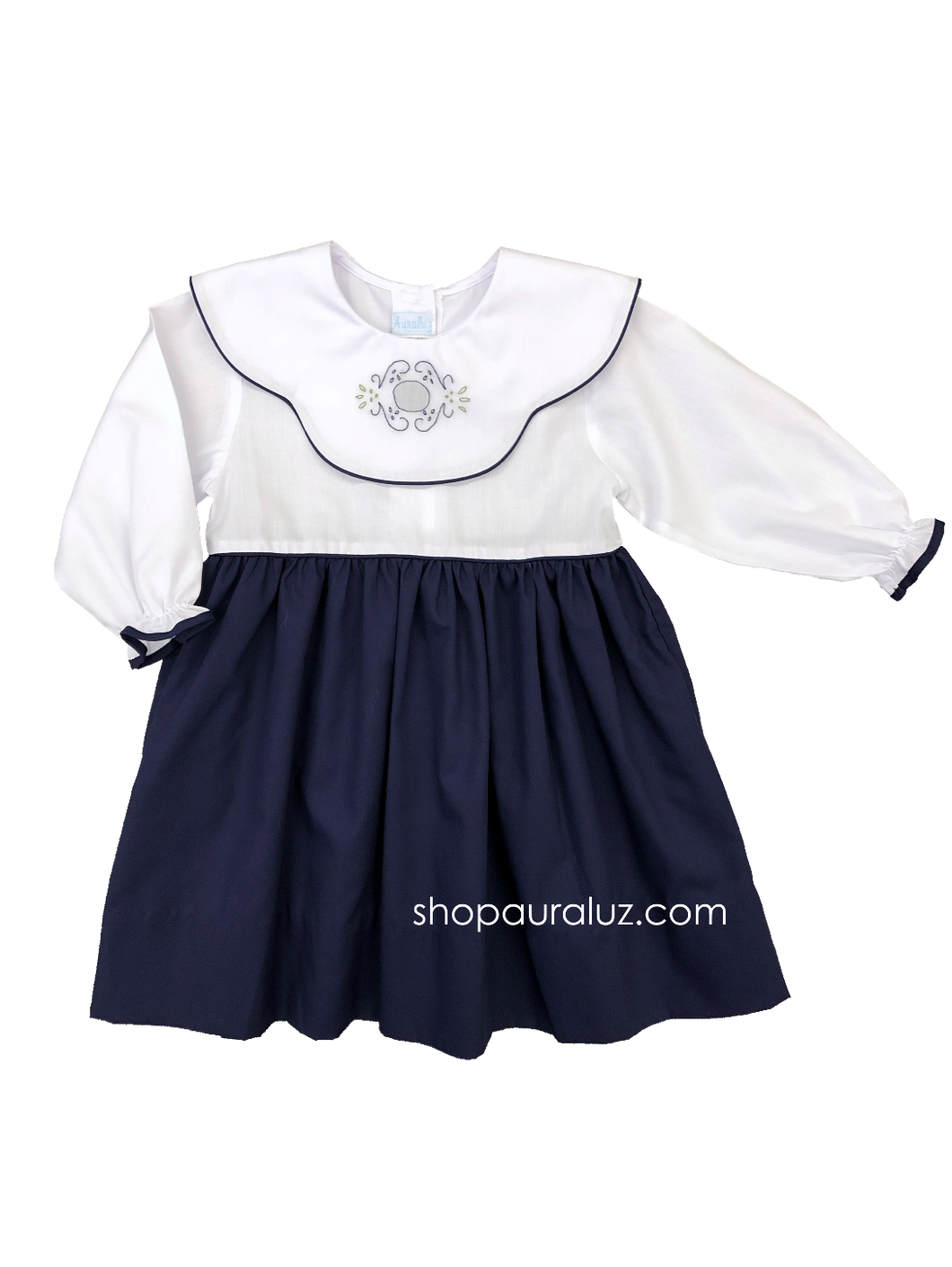 Auraluz Dress, l/s...Navy w/binding, white scalloped collar and embroidered floral