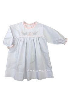 Auraluz Girl Dress, l/s...White with pink ruffle trim embroidered doves with ribbon