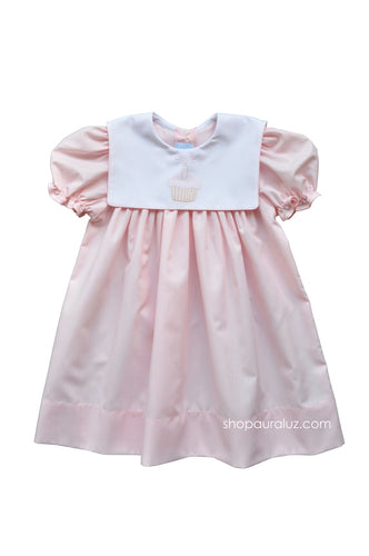 Auraluz Birthday Dress..Pink with square collar and embroidered cupcake