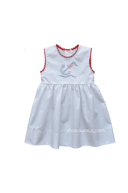 Auraluz Sleeveless Dress..White with red ric-rac and embroidered anchor