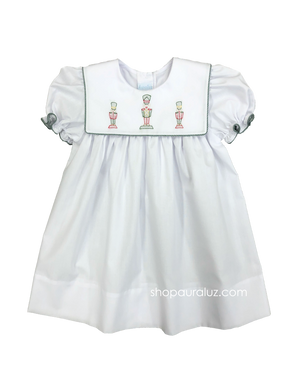 Auraluz Christmas Dress...White with square collar, green check binding trim and embroidered toy soldiers