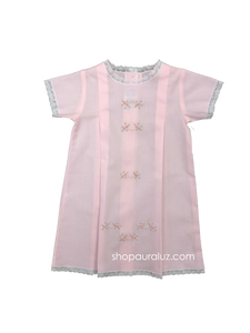 Auraluz Girl Day Gown..Pink with white lace and embroidered tiny buds