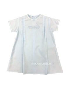 Auraluz Boy Day Gown. Blue with white piping trim and embroidered train